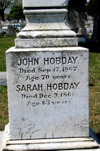 John and Sarah Hobday tombstone