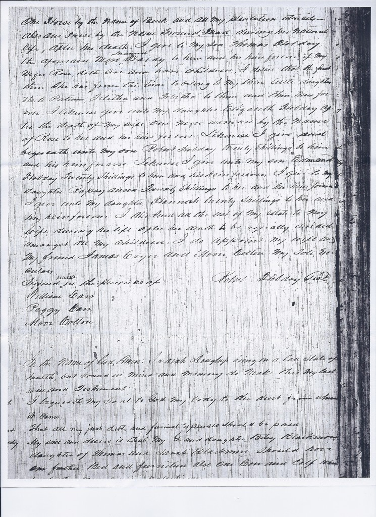 Will of Robert Hobday, 1797, pg 2