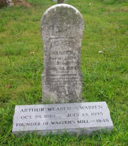 Original tombstone of Arthur Warren & one identifying him as the founder of Warren's Mill.