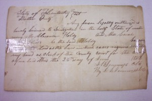 Marriage Bond for Alex. Hobdy & Sarah James 1843