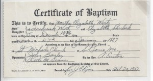 Baptism record of Martha Wirtz