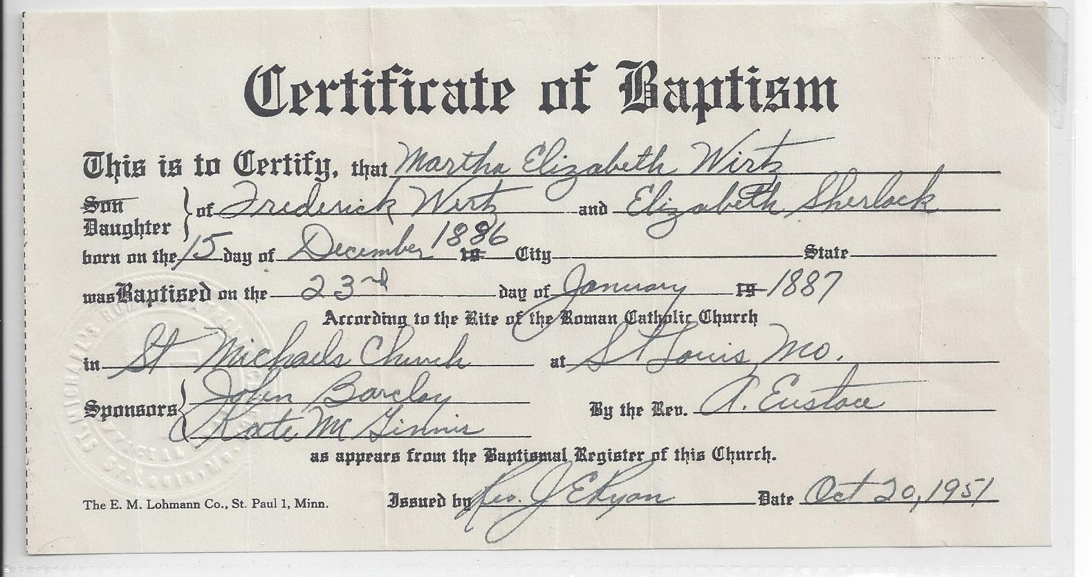 Wirtz family of prussia and st louis missouri the heritage lady baptism record of martha wirtz 1betcityfo Choice Image