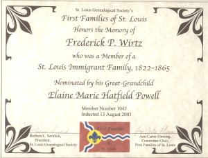 FIRST FAMILIES of St. Louis cert