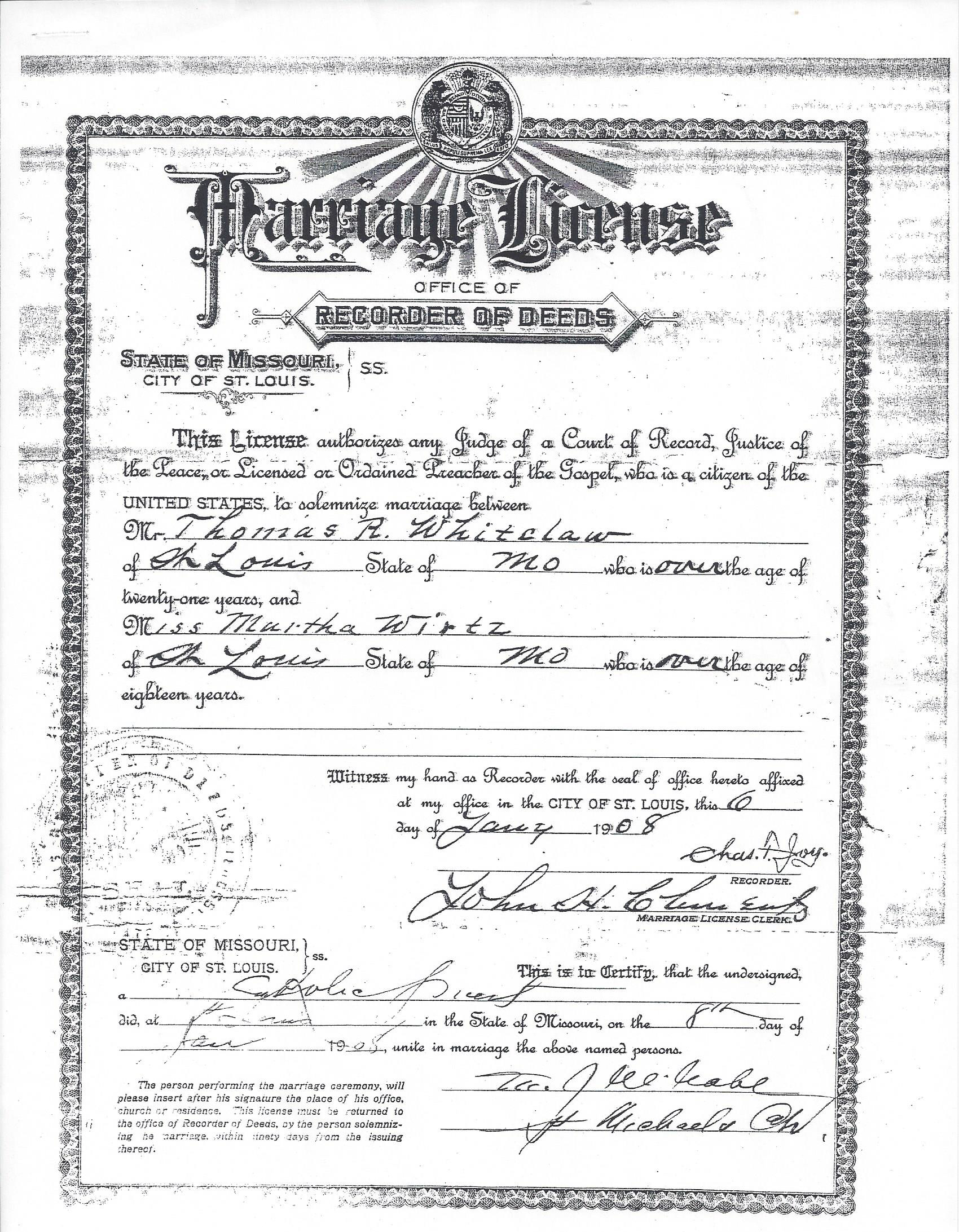 Wirtz family of prussia and st louis missouri the heritage lady marriage license and certificate for thomas rees whitelaw and martha wirtz xflitez Choice Image