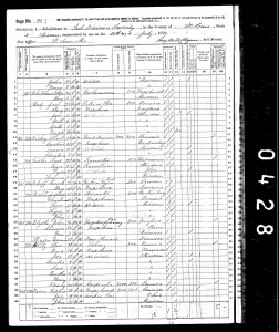 1870 Census for Theodore Wirtz family