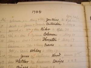Abingdon Parish Birth Register -- Robert Hobday b. May 13, 1744, son of Sarah