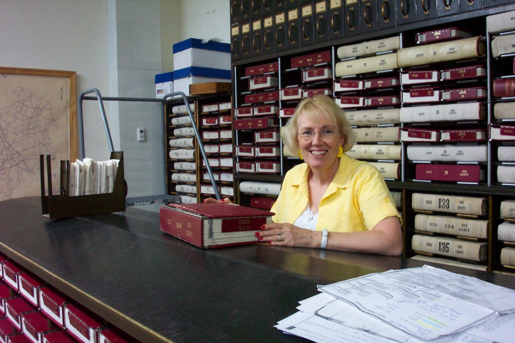 Elaine researching in the Ohio Co., KY Courthouse
