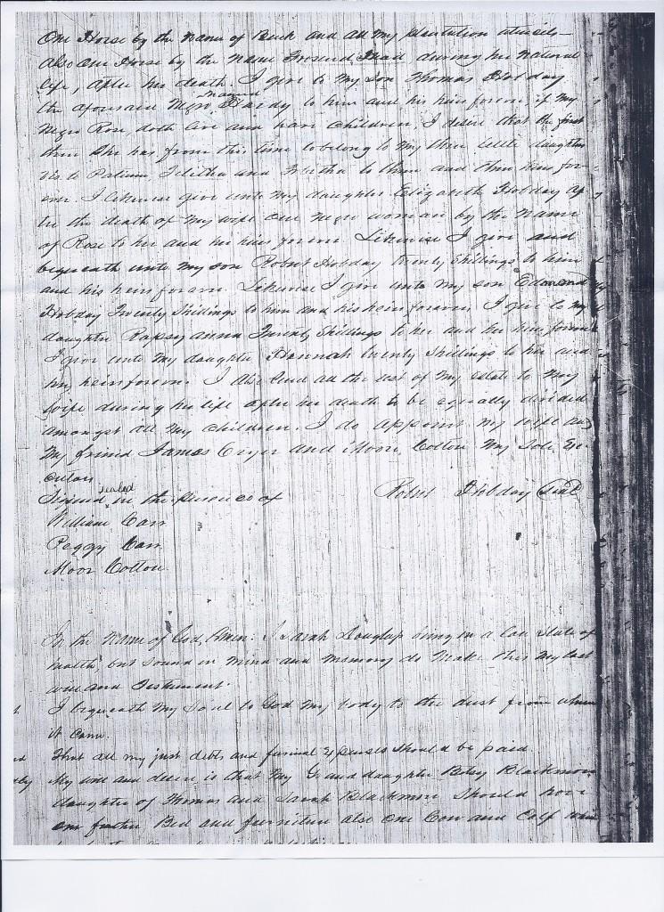 Will of Robert Hobday, 1797, pg 2