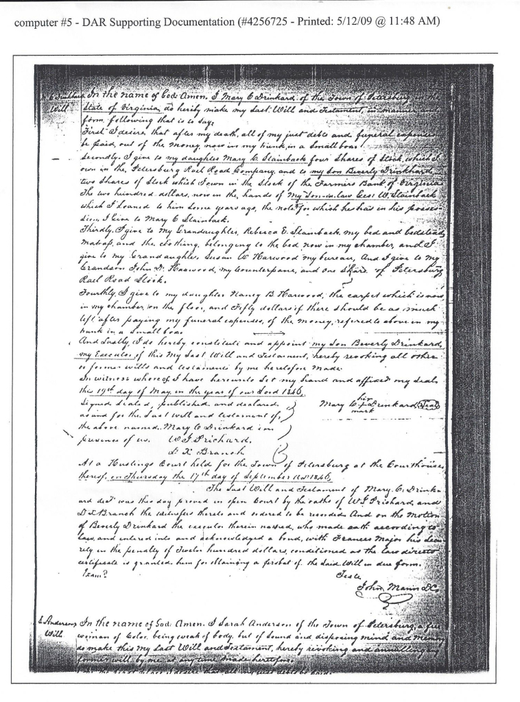 Will of Mary Thompson Drinkard