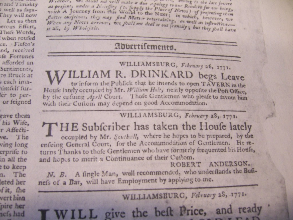 Virginia Gazette article that states that William Drinkard will open a tavern in Willliamsburg.