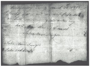 A. Hatfield written in margian -- I certify and I and my wife Susannah are both willing given under my hand this 29 of March 1798. Signed John Mann