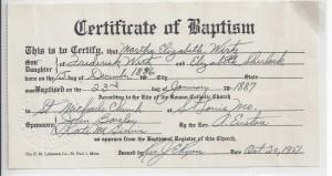 Baptism record of Martha Wirtz