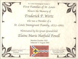 FIRST FAMILIES of St. Louis cert