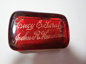 Paperweight commemorating the marriage of Lucy E. Scruby & John R. Hardcastle