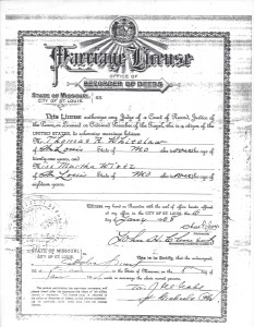 Marriage License and certificate for Thomas Rees Whitelaw and Martha Wirtz