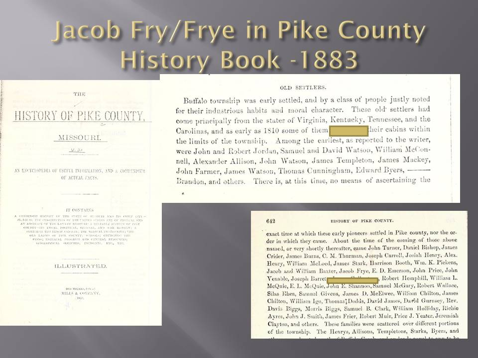 Fry/Frye Family of Pike County, Missouri - The Heritage Lady